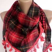 red green girly plaid scarf , women accessory , NEW scarf trends , gifts for her