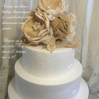 Champagne & Burlap Cake Topper Flower Pick. One of a kind and ready to ship!