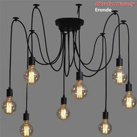6 Holders Heads Vintage Industrial Ceiling Lamp Chandelier Pendant Light Fixture (Size: 6, Color: Black)