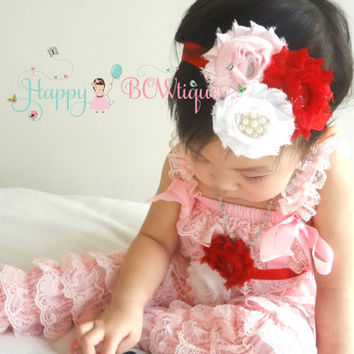 4pc Petti lace romper set, Valentine outfit, Pink romper set, Birthday outfit, baby girls outfit, Vantines Day, flower girl, baby romper,