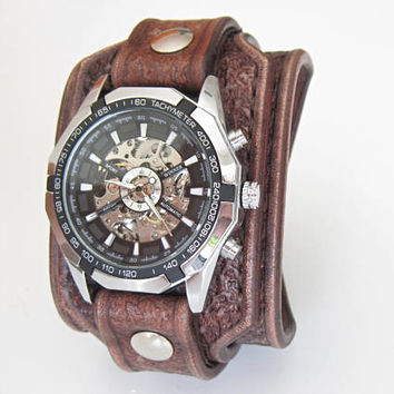 Leather Cuff Watch, Vintage Brown Leather Cuff, Men's Watch, Leather Cuff Watch, Anniversary Gift