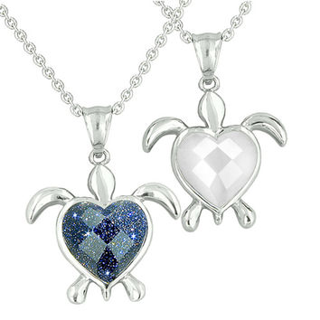 Love Couple Turtle Heart Magic Yin Yang Blue Goldstone White Cats Eye Pendant Necklaces