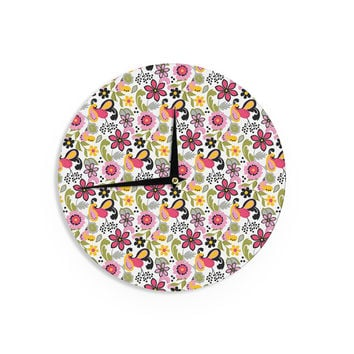 "Carolyn Greifeld ""Pretty Florals"" Pink Yellow Wall Clock"