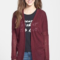 Junior Women's Painted Threads Stripe Hooded Open Cardigan,