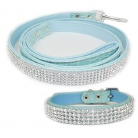 Teal 2 Pack Crystal Rhinestone Dog Leash and Dog Collar (Medium)