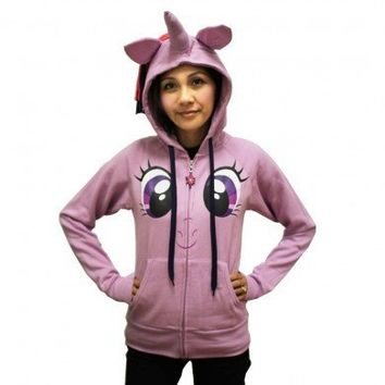 My Little Pony Rarity Face Juniors Purple Costume Hoodie