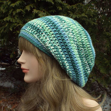 Blue and Green Slouch Beanie, Womens Slouchy Crochet Hat, Multicolor Slouchy Beanie, Oversized Hipster Hat, Baggy Beanie, Slouchy Hat