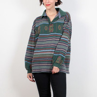 Vintage Boyfriend Shirt 1990s Oversized Collared Shirt Loose Combed Cotton Green Striped Soft Grunge Tshirt 90s Long Sleeve Extra Large XL