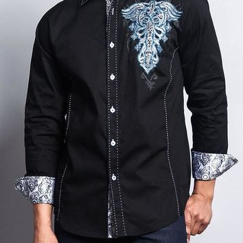 Premium Tribal Fleur de Lis Button Up Shirt SH447 - L7G