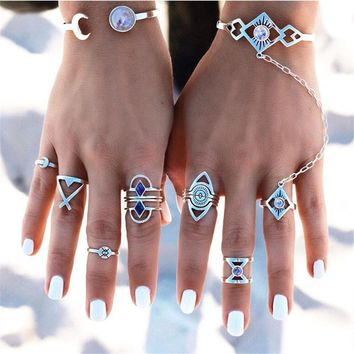 Eight Piece Set Women Bohemian Vintage Style Silver Stack Rings