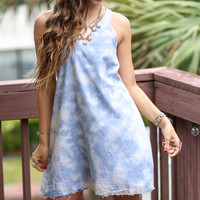 On Cloud Nine Tye Dye Denim Dress