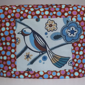 Blue and Brown Toaster Cover with Bird