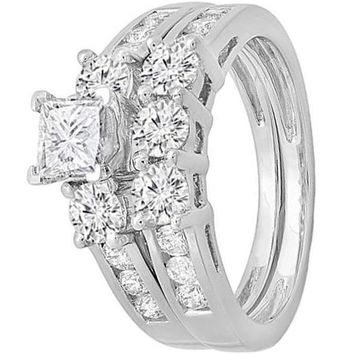 CERTIFIED 1.90 Carats 14K White Gold Princess & Round Diamond 3 Stone Bridal Engagement Ring Set