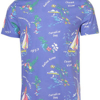 Blue Tropical Scene Crew Tee