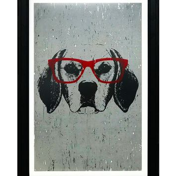"""Beagle with Red Glasses Art Print / Poster - 13x19"""""""