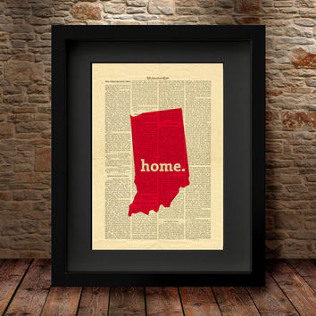 Indiana, Indiana State, Indiana State Map, Art Print, Dictionary Print, Book Print Page Art Vintage Book Art, Dictionary State Print -27I