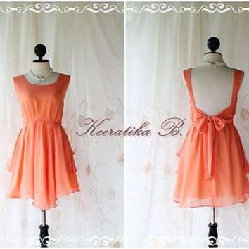 A Party - Prom Party Cocktail Bridesmaid Dinner Wedding Night Dress Pale Powder Tangerine Sweet Gorgeous Glamorous Dress Limited