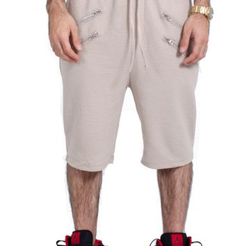 French Terry Embossed Shorts in Warm Khaki