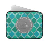 Monogrammed Gray Teal Modern Lattice Pattern Laptop Sleeves