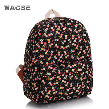 Floral Canvas Fashion Stylish Casual Travel Korean Backpack = 4887502084
