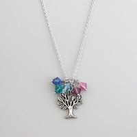 Tree of life, Personal, Birthstone, Tree, Silver, Necklace, Family, Tree, Birthstone, Necklace, Birthday, Family, Friends, Gift, Jewelry