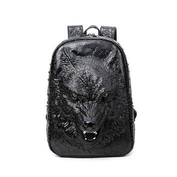 Cool Backpack school 3D wolf head backpack stylish backpacks special cool shoulder bags for teenage girls PU leather laptop school bags AT_52_3