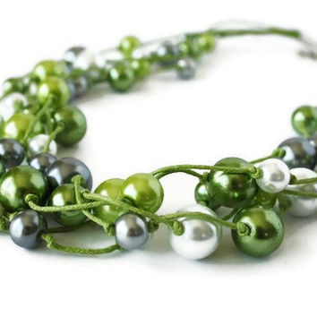 5 Strands Glass Pearl Necklace Hand Knotted on by VeniciaCreations