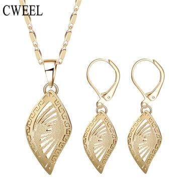 CWEEL Dubai African Beads Jewelry Sets For Women Pendant Necklace Earrings Indian Jewelry Gold Color Wedding Bridal Accessories