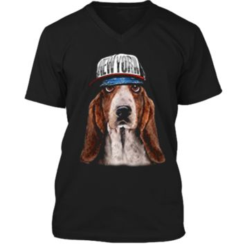 Rapper Basset Hound Dog in Hip Hop Hat New York Mens Printed V-Neck T