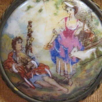Vintage Fragonard Limoges Porcelain Cabochon Wood Framed Genuine Fragonard