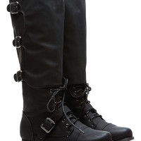Ultimate Rider Lace and Buckle Faux Leather Boots