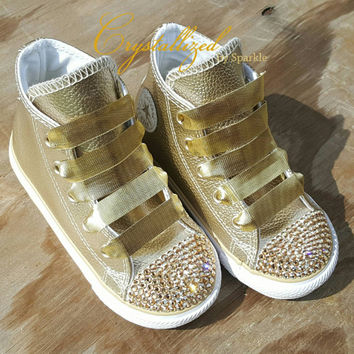 Gorgeous Swarovski Crystal Metallic Gold Kids Bling Converse Chuck Taylor  All Stars Children Infants Toddler 89baa9bd10e6