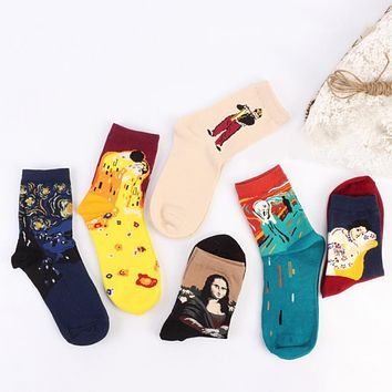 Men Women Autumn Winter Socks Cotton+Polyester Socks Western Christmas Abstract Oil Painting Monalisa Retro Couple Socks