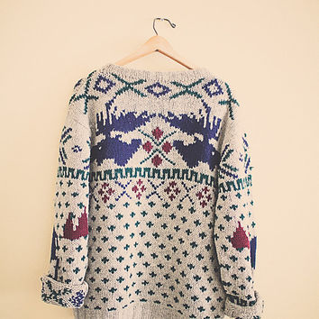 Vintage Wool Moose Sweater  Extra Large  XL Sportswear the dudeTan Navy Blue Maroon Green Aztec Print Winter Scene Oversized  Tribal