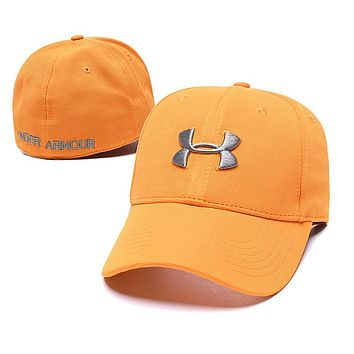 Under Armour Fashion Women Men Embroidery Sports Sun Hat Baseball Cap Hat Orange