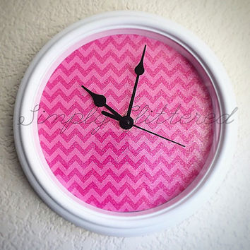 Glitter Chevron Wall Clock