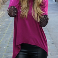 Purple Elbow Sequins Patched Long Sleeve T-shirt