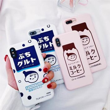 Japanese Drink Package Strawberry Milk Girl  iPhone Case For X 6 7 8 6s Plus XR XS MAX
