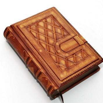 Handmade ooak brown leather journal - Chesterfield style, 8.1''x5.7'' (20,5x14,5 cm) in gift box