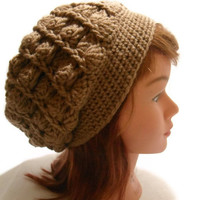 Crochet Cabled Shell Tam Beanie Hat in Tan Brown