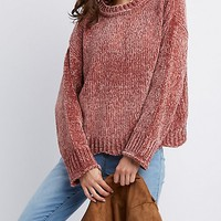 Scalloped-Trim Chenille Sweater | Charlotte Russe