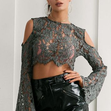 Millie Sexy Cold Shoulder Lace Crop Top