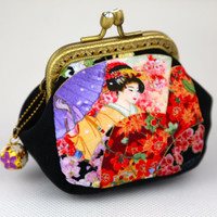 Coin Purse Japanese Geisha & Floral