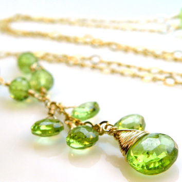 Peridot Necklace, Green Stone, Gold Filled, Peridot Y Drop Pendant, Gemstone, August Birthday, Birthstone, Handmade Jewelry