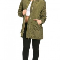 Classic Longline Bomber Jacket in Olive