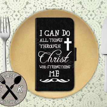 I Can Do All Things Through Christ Who Strengthens Me Quote Black Wallet Phone Case iPhone 4/4s and iPhone 5/5s and 5c iPhone 6 and 6 Plus +