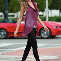 WINE Cowl neck overlay tank, cami, legging, sneaker from VENUS