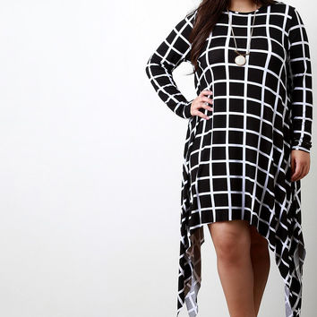 Grid Pattern Longsleeve Shark Bite Dress