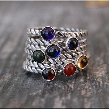 7 Chakras Stacking Rings, Sterling Silver Gemstone Chakra Rings, Stackable Rings, Chakra Jewelry, Yoga Jewelry, Mind Body Soul Chakra Ring