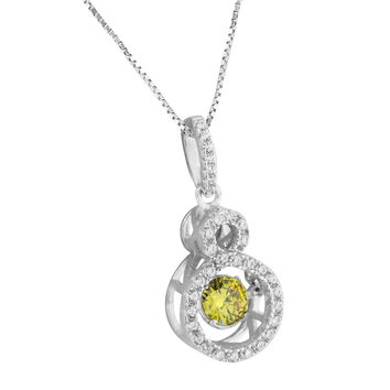 Canary Solitaire Infinity Design Pendant Women Necklace Sterling Silver CZ Stone